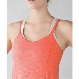 Lululemon Run For Gold Tank Heathered Coral/ Nude
